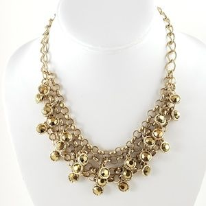 INC Bib Necklace Gold Metallic Rhinestones